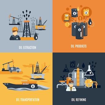 Icono plana de la industria del petróleo