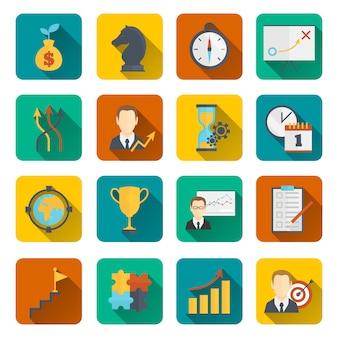 Icono de planificación de estrategia de negocios plana