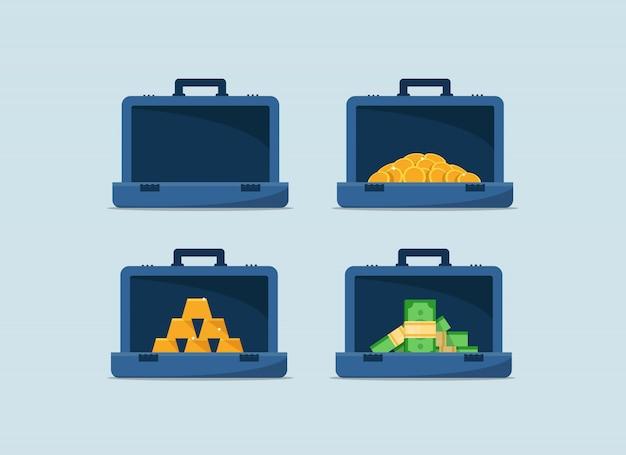 Icono plano de bolsa de dinero, monedero, billetera, estuche, estuche de dinero con signo de monedas