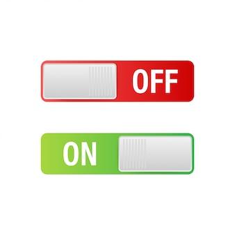 Icono plano botón de encendido y apagado del interruptor de palanca