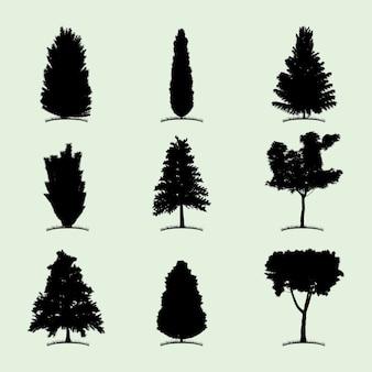 Icono plano de colección de árboles con nueve tipos diferentes de ilustración de plantas