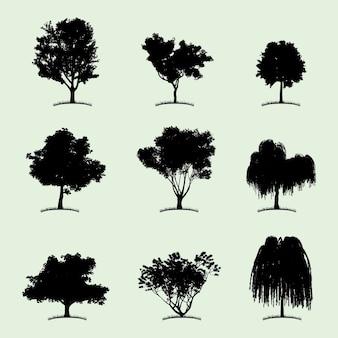 Icono plano de colección de árboles con nueve tipos diferentes de plantas en la ilustración blanca