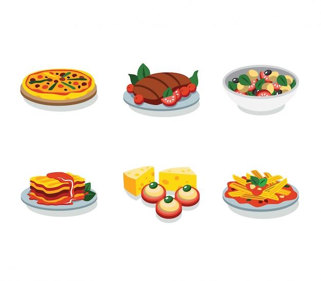 Icono plano de comida italiana