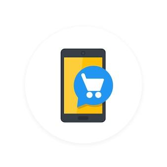 Icono plano de compras, teléfonos inteligentes y carritos móviles