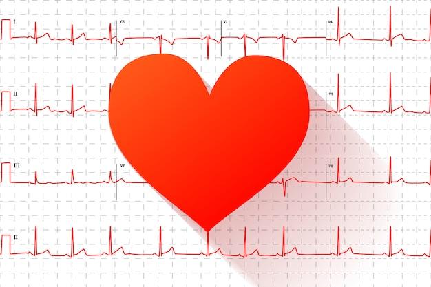 Icono plano de corazón rojo en gráfico de electrocardiograma humano típico con marcas
