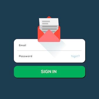 Icono plano de correo electrónico del sobre, con el botón de inicio de sesión, ilustración.
