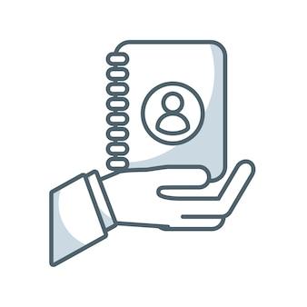 Icono plano del directorio de agend