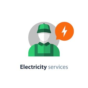 Icono plano de electricista, servicios de electricidad, reparador eléctrico