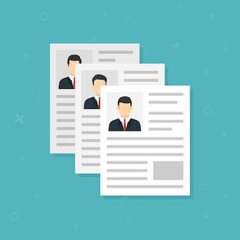 Icono plano de entrevista de trabajo. trabajo de candidato de reclutamiento de vector. ilustración vectorial