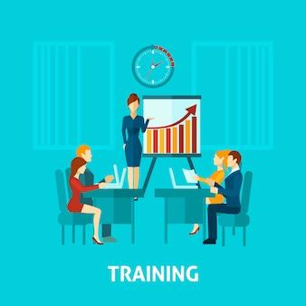 Icono plano de formación empresarial