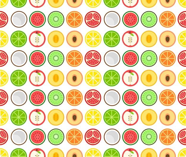 Icono plano de fruta redonda de patrones sin fisuras. aislado en blanco