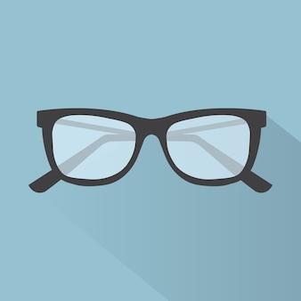 Icono plano gafas para diseño web, ilustración vectorial