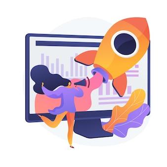 Icono plano idea creativa. proyecto innovador de internet, negocio publicitario, promoción online. mujer con personaje de dibujos animados de altavoz. ilustración de metáfora de concepto aislado de vector