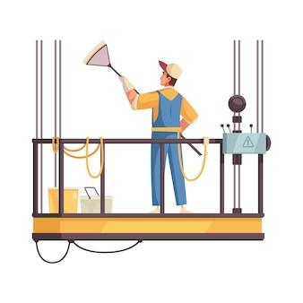 Icono de plano de limpiador profesional lavado de ventanas en ascensor