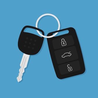 Icono plano de la llave del coche de vector