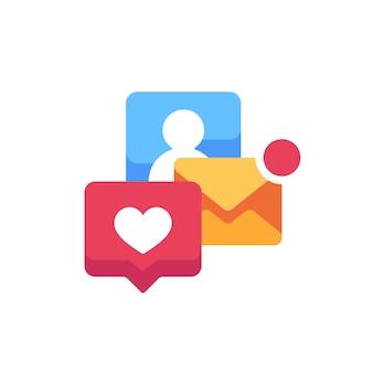 Icono plano de notificaciones emergentes. alertas por correo electrónico y redes sociales