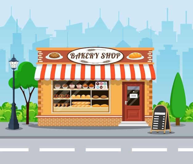 Icono plano de vista frontal de tienda de panadería.