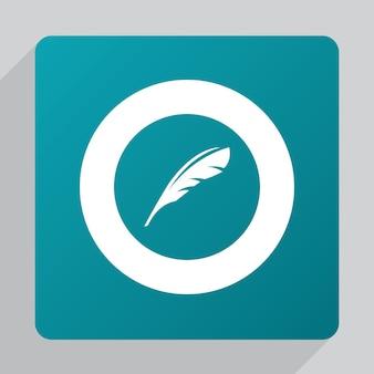 Icono de pluma plana, blanco sobre fondo verde