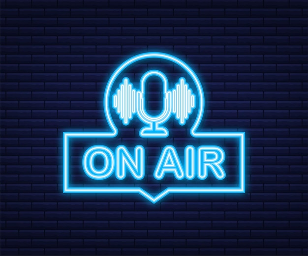 Icono de podcast como al aire en vivo. pódcast. insignia, icono, sello, logo. transmisión o transmisión de radio. icono de neón. ilustración de stock vectorial.