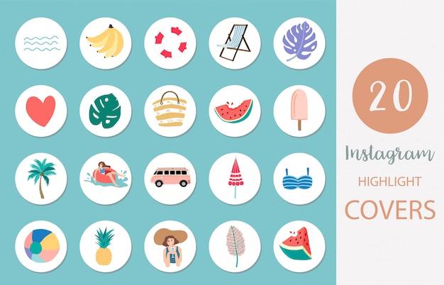 Icono de portada destacada de instagram con playa, sandía, fruta en estilo veraniego para redes sociales