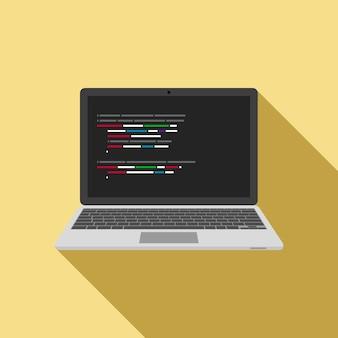Icono de portátil con editor de código en pantalla.