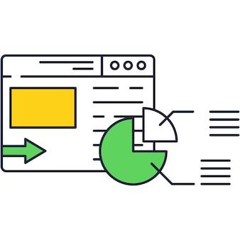 Icono de portátil con software de vector y análisis