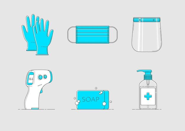 Icono de ppe aislado en estilo plano con guantes máscara protector facial termómetro desinfectante de jabón