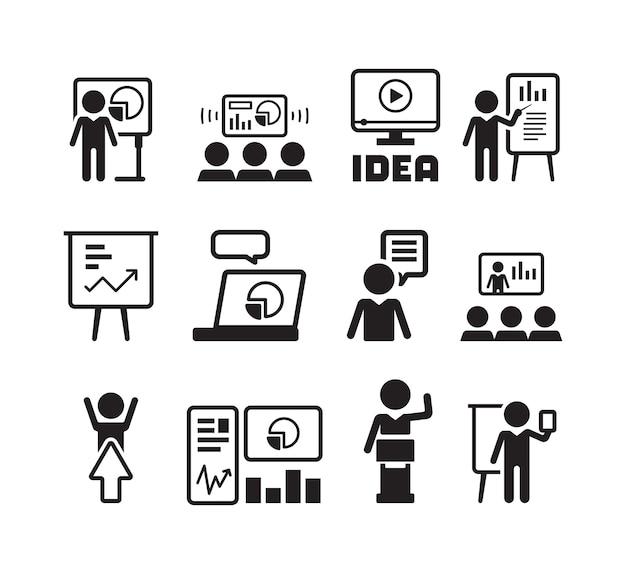 Icono de presentación empresarial. formación docente hablando rotafolio empresario orador sala de conferencias mentor grupo personas símbolos. ilustración empresario presentación, discusión y formación.