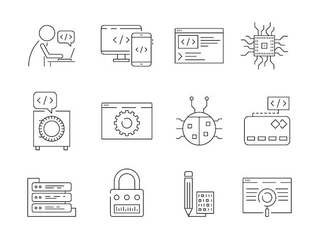 Icono de programador. el codificador de errores del trabajador de desarrollo web corrige los nodos qa sistema de prueba de ingeniería vector de línea delgada símbolos