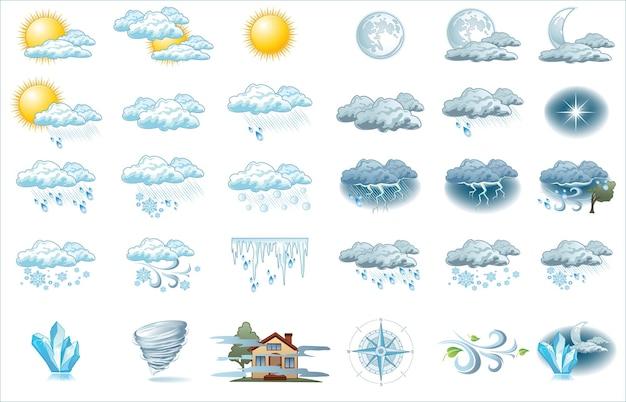 Icono de pronóstico del tiempo con fondo brillante. iconos meteorológicos para tu infografía