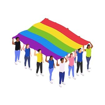 Icono de protesta pública con multitud de personas sosteniendo la ilustración isométrica 3d de la bandera lgbt