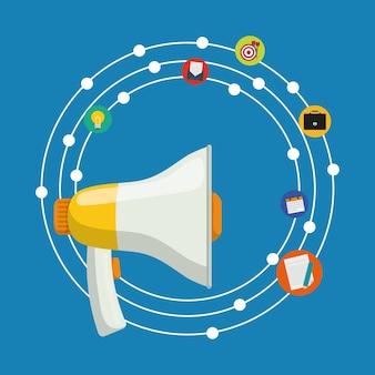 Icono de publicidad digital y marketing