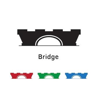 Icono de puente sobre fondo blanco con conjunto de colores diferentes.