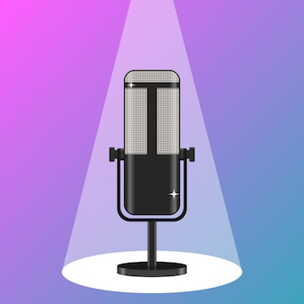 Icono de radio de podcast de micrófono de estudio moderno en el aire