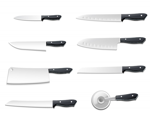 El icono realista aislado de los cuchillos fijó con las cuchillas afiladas para el ejemplo del vector de los pescados del pan de la carne de la pizza