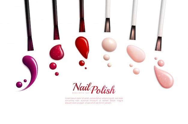 Icono de realista aislado de manchas de esmalte de uñas con diferentes colores y estilos de ilustración