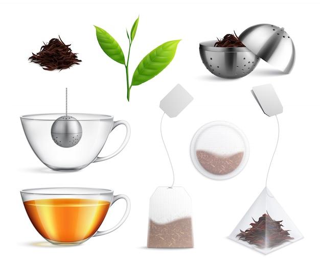 El icono realista de la bolsa de té establece diferentes tipos de colador de té y bolsa de té, por ejemplo, ilustración vectorial k