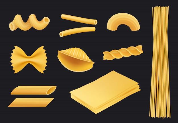 Icono realista de pasta italiana, comida tradicional spaghetti macarrones fusilli cocinar ingredientes amarillos aislados