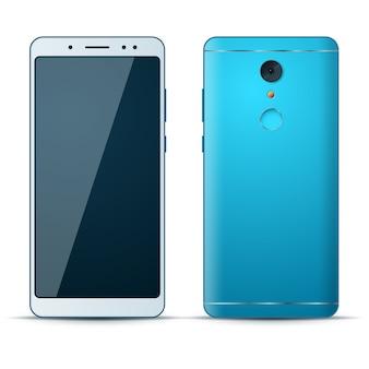 Icono realista del teléfono inteligente 3d en el fondo blanco.