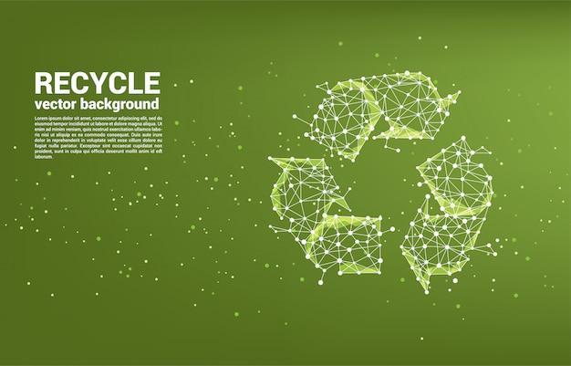 Icono de reciclaje de plantilla de red de polígono de línea de conexión de punto