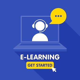 Icono de recursos de educación en línea, cursos de aprendizaje en línea, educación a distancia, tutoriales de e-learning. plantilla de banner.