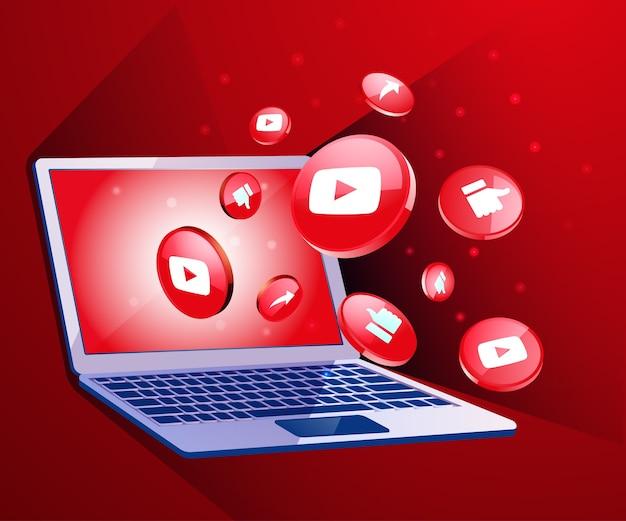 Icono de redes sociales 3d de youtube con computadora portátil dekstop
