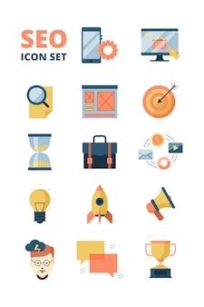 Icono de redes sociales. promoción web publicidad inicio medios email marketing negocios y seo símbolos