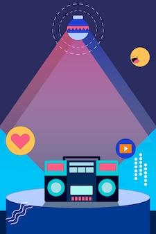 Icono de redes sociales en vector de tema de escenario