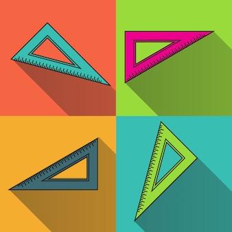 Icono de regla triángulo colorido. símbolo de regreso a la escuela.