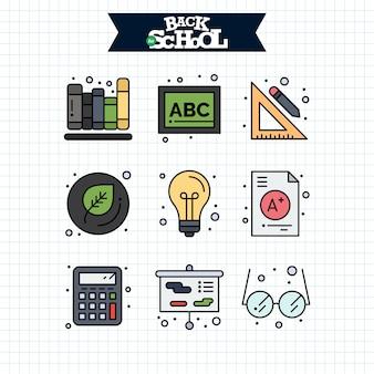 Icono de regreso a la escuela. conjunto de iconos de línea educación y aprendizaje.