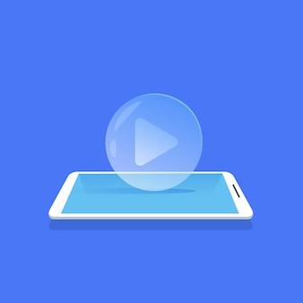 Icono del reproductor de video medios de transmisión de aplicaciones móviles fondo azul plana