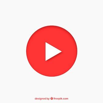 Icono de reproductor de youtube con diseño plano