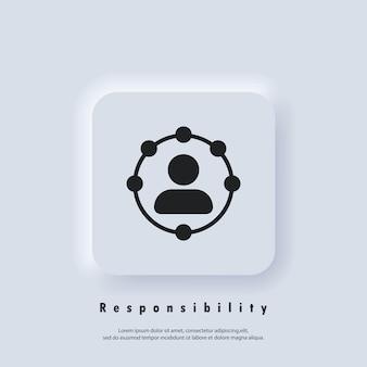 Icono de responsabilidad. icono de roles profesionales. funciones, responsabilidades y deberes de la idea de miembro profesional. empleado empleador. círculo, trabajador. vector eps 10. icono de interfaz de usuario. ui ux neumorfica