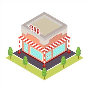 Icono de restaurante isométrico.